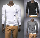 Hot Sale Mens Fashion button Casual Slim fit V-neck T shirt tops Tee 3 colors