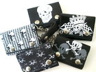 """Skull 4"""" Leather Biker Trifold Wallet with Chain You Pick the Design"""
