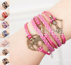 "New Design ""18cm"" Hunger Games Bird Infinity Arrow & Bow Leather Wrap Bracelet"