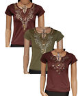 SUMMER SALE - Womens Embroidery Beaded Sequin T-Shirt Top - UK  8/10