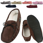 Mens / Womens Genuine Suede Lambswool Moccasin Slippers with Soft Suede Sole