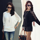 Hot sale Womens Batwing Top  Loose Ladies Long Sleeve T-Shirt Blouse Top UK FO