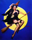 Halloween Witch Fabric Block - Gil Elvgren Pinup Girl Rides Broom Full Moon