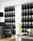 Heavy Weight Luxury Eyelet Lined Pair Ring Top Ready Made Curtains Black Slate