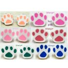 "Pet Paw Polymer Clay Stud Earrings 14mm/1/2"" plus - 6 colors"