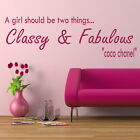 GIRLS CLASSY FABULOUS decal wall art sticker quote transfer graphic DAQ8