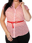 New with Tags MK White & Red Spotted Sheer Blouse  Plus Size  26/28 30 & 32