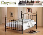 Lucie French Style Metal Bed Frame Black / White - 4ft6 Double / 5ft King Size