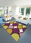 MEDIUM SOFT STYLISH BUBBLE PURPLE/ GREEN  UNIQUE HARLEQUIN DESIGN RUGS FREE P&P