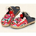 Women Floral Slippers Mules Shoes Tribal Ethnic Linen Chinese Red Fit Flat Hot