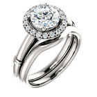 1.25 ct 7mm Round FB Moissanite diamond 14K White Gold Halo Engagement Ring Set