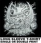 LIVE TO RIDE V-TWIN BIKER CHOPPER MOTORCYCLE ROSES LIGHTNING SKULLS T-SHIRT W513