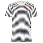YO YOUR OWN NARA MENS WHITE AND NAVY STRIPED T-SHIRT UK L