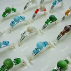 wholesale 40-400pcs colorful beads fashion alloy Rings free shipping jewelry