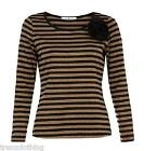 UTTAM / YUMI BROWN & BLACK STRIPPEY LONG SLEEVED TOP RRP £28.99