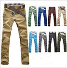 HOT Men's Chic Designed Straight Slim Fit Trousers Casual Long Pants Jeans UK FO