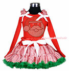 XMAS Hot Red Top Rhinestone Santa Claus Stripes Pettiskirt Girl Outfit Set 1-8Y