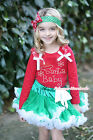 XMAS Rhinestone Baby Santa Print Red Top Green White Pettiskirt Girl Outfit 1-8Y