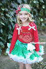 XMAS Rhinestone Santa Claus Red Top Green White Skirt Girl Party Outfit 1-8Year