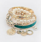 Hot sale New Girls Exquisite Coin Pearl Hollow Bracelet Jewelry  UK FO