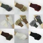 CABLE KNIT FAUX FUR TRIM CUFF FINGERLESS GLOVES MITTENS #LGV051
