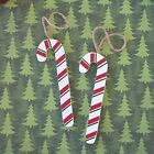 """Country-Rustic painted wooden 5"""" CANDY CANE w/ jute hanger (set of 6 canes)"""