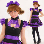 Sexy black purple Cosplay Dress Uniform Ruffle Bobby Lolita bar Maid Outfits