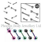 Plain Steel or Titanium 16g Cartilage Upper Ear Stud Earring / Tragus Helix Bar