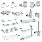 CHROME SQUARE MODERN SOLID BRASS WALL MOUNTED BATHROOM ACCESSORIES 14 PIECE SET