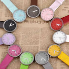 1pc Numeral Leather Band Girl Boy Unisex Quartz Wrist Watch Candy Color Fashion