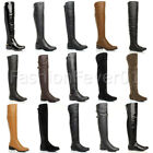 WOMENS LADIES LOW HEEL HIGH OVER KNEE STRETCH PULL ON ZIP WINTER RIDING BOOTS
