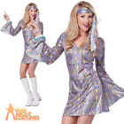 Adult Disco Sensation Costume Ladies 70s Fancy Dress Sequin Outfit New Size 4-16