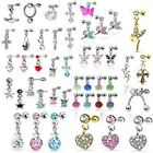 Novelty Steel CZ Dangle Cartilage Upper Ear Stud Earring Helix / Tragus Bar