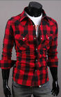 POP Men's Cozy Casual Slim Fit Plaid Cotton Stand Collar Long Sleeve Shirts