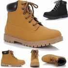 Ladies Tan Chunky Cleated Sole Block Heel Chelsea Ankle Worker Biker Boots Shoes