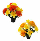 Daffodil Chrysanthemum Artificial Flowers Cemetery Pot Memorial Grave Tribute