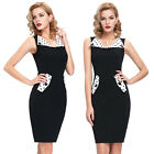 Chic 50s 60s Vintage Rockabilly Sexy Pinup Bodycon Party Pencil Dress Plus Size