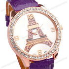1pc Girl Leather Eiffel Tower Dial Rosy Golden Case Crystal Quartz Analog Watch