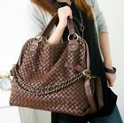 Fashion Woven Faux Leather Large Handbags Shoulder Bag With Chain For Lady Women