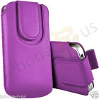 Light Purple Leather Magnetic Pull Tab Case Cover For Various Huawei Models