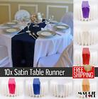 10 Satin Table Runners Sashes Cloth Chair Cover Wedding Event White Black Silver