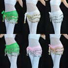 New 3 Rows Belly Dance Hip Skirt Scarf Wrap Belt Hipscarf Waistband with Coins