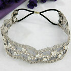 Womens  Beautiful  Lace Faux Pearl Beads Headhand Hairband Hair Head Band US AB