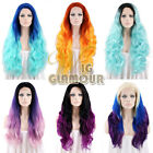 "20"" - 28"" Long Custom-made Dark Roots Multi-color Lace Front Synthetic Wig"
