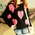 Womens Sweet Loose Batwing Patchwork Sleeve Love Pattern Jumper Sweaters US AB□
