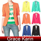 NEW Candy Color Women Stripe Lining Casual Suit Blazer Jacket Wear To Work Coat