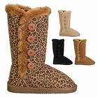 NEW Womens Snow Winter Side Button Up Classic Flat Heel Round Toe Fur Boots Shoe