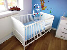 NEW WHITE COT BED 120x60 or 140x70cm COTBED&amp; MATTRESS-CONVERTS INTO A JUNIOR BED <br/> New✔Free Mattress✔3 Position Base✔Toddler Junior Bed