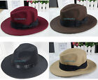 Unisex Wool VTG Felt Trilby Hat Gangster Fedora Size 56-58cm Khaki Coffee Brown