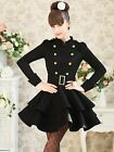 Womens Black Stand Collar Double Breasted  Wool Dress Coat Slim Belted Long Coat